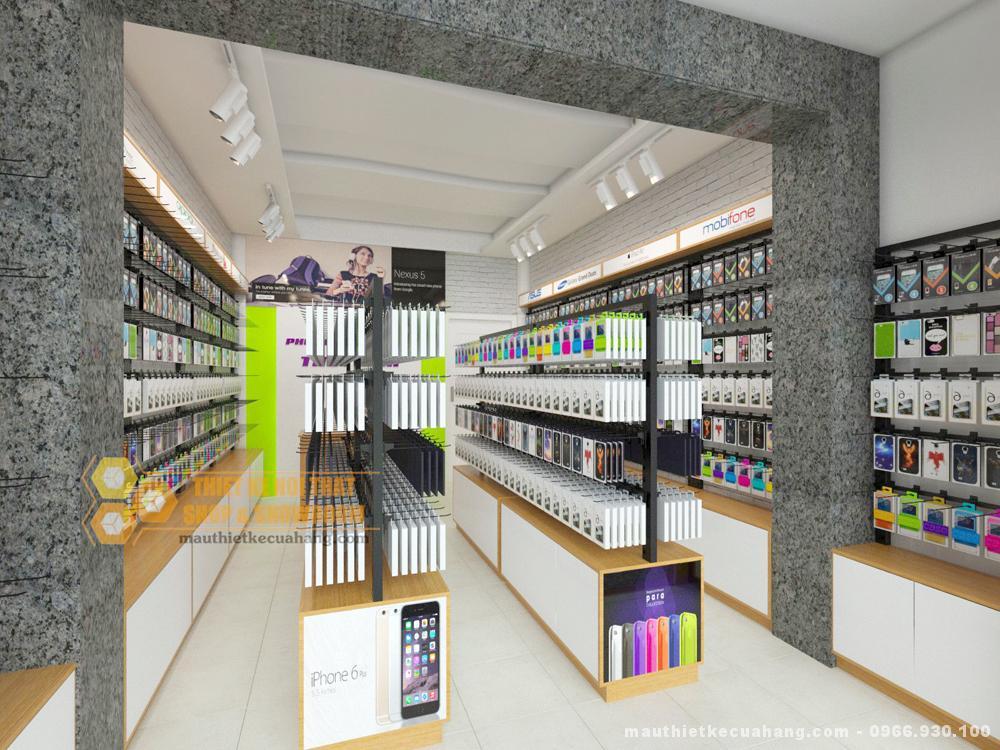 Mẫu thiết kế nội thất shop điện thoại NHỎ MÀ ĐẸP 15m2