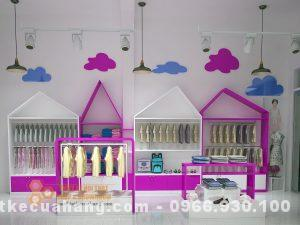 Mẫu nội thất shop thời trang mẹ và bé, đẹp tông hồng trắng