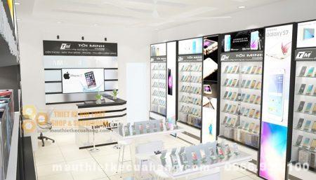 Thiết kế nội thất shop điện thoại 30m2 tại Bắc Ninh hiện đại và sang trọng