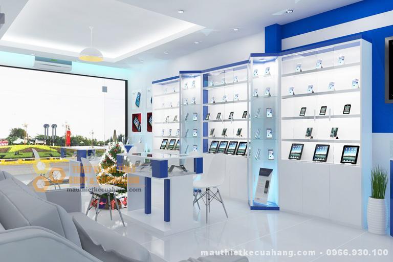Thiết kế nội thất shop điện thoại Vũ Phát 35m2