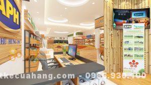 Mẫu cửa hàng thực phẩm sạch ở Hà Nam, diện tích 50m2 gỗ thông