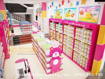 Thiết kế nội thất shop mẹ và bé 70m2 tại Bắc Giang đẹp sang trọng và tinh tế