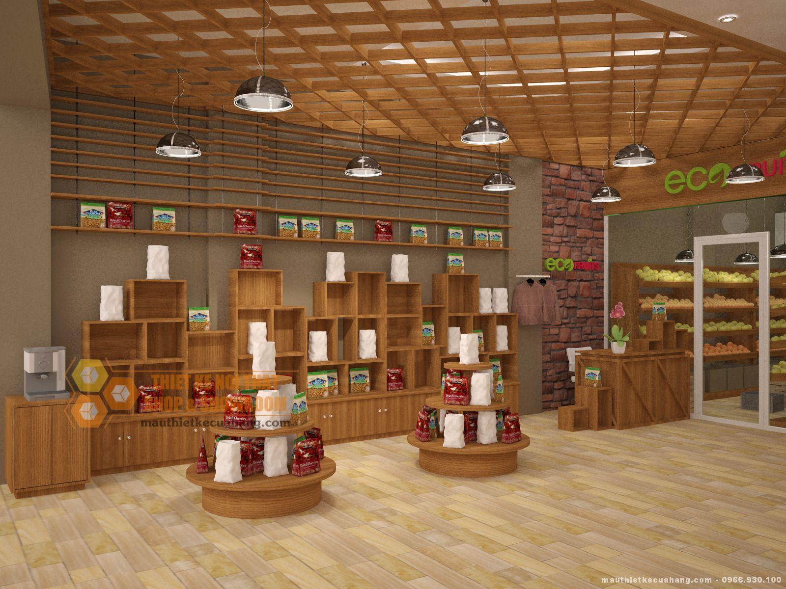 Mẫu thiết kế shop hoa quả sạch Eco Fruits tại Hà Nội 30m2