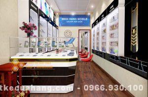 Mẫu thiết kế shop điện thoại 30m2 tại Bắc Ninh đơn giản và sang trọng