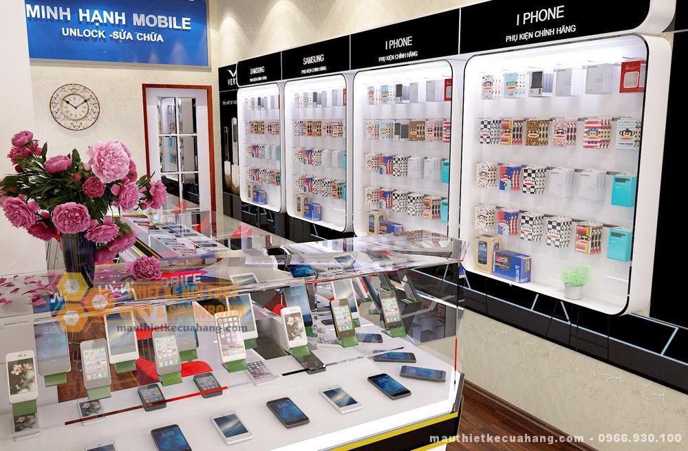 Mẫu thiết kế shop điện thoại 30m2 tại Bắc Ninh