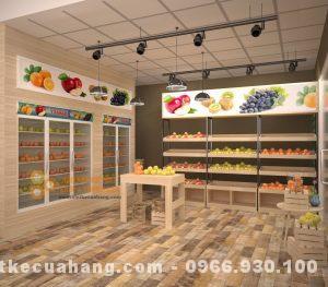 Mẫu nội thất shop hoa quả sạch Ecofuits diện tích 30m2