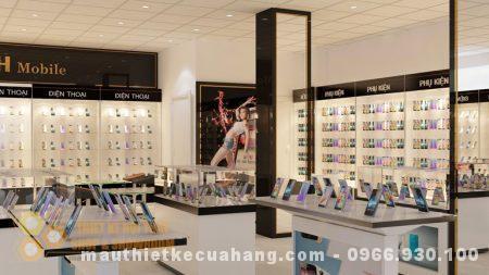 Thiết kế showroom điện thoại 150m2 ở Hưng Yên sang trọng và hiện đại