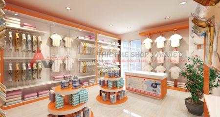 Trang trí nội thất shop mẹ và bé ở quảng ninh 45m2