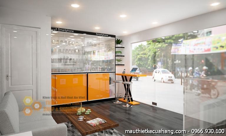 Thiết kế shop điện thoại đẹp 30m2 tại TPHCM Huy Hoàng Mobile