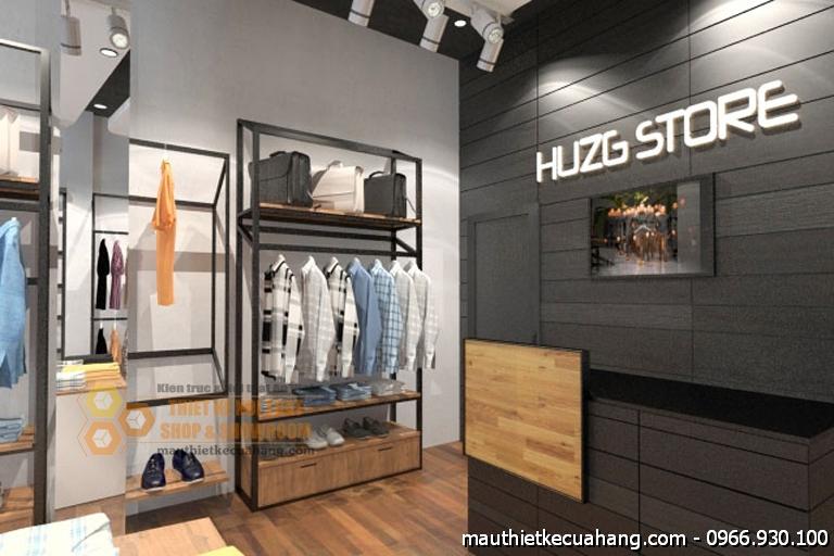 Thiết kế shop thời trang quần áo nam giá rẻ 40m2 Huzge Store
