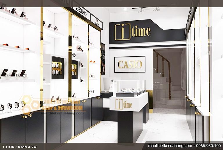 Mẫu thiết kế cửa hàng đồng hồ sang trọng 20m2 tại Hà Nội
