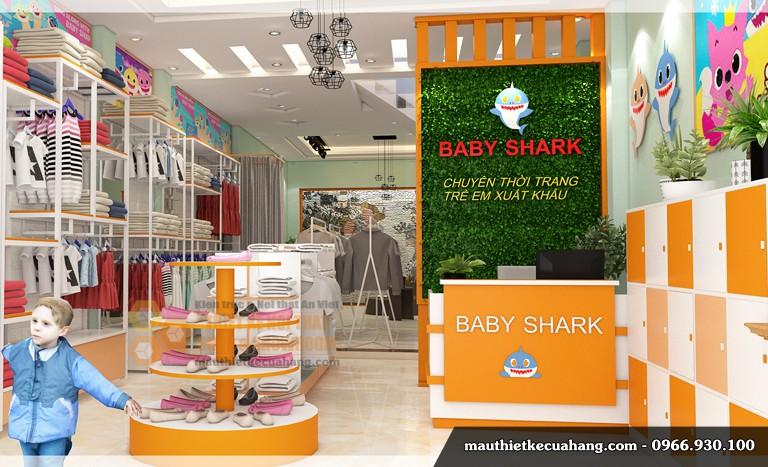 Mẫu thiết kế shop quần áo trẻ em 55m2 tại Hà Đông Hà Nội