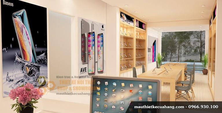 Dự án: Nội thất cửa hàng điện thoại Chủ đầu tư : Anh Oanh Địa chỉ : Cầu Giấy, Hà Nội Diện tích : 60m2 Thiết kế 3D: KTS Xuân Vật Liệu, ý tưởng thiết kế cửa hàng Với yêu cầu tạo ra không gian mua bán điện thoại và phụ kiện một cách hiện đại, vừa có thể trưng bày nhiều sản phẩm khác nhau, cũng như có bàn tư vấn cho khách hàng. Hệ tủ, kệ trưng bày làm bằng gỗ MDF phun sơn cao cấp. Kết hợp gỗ Melamine Sử dụng cánh kính cường lực 9mm Hệ thống chiếu sáng bằng đèn dowlight D110, đèn rọi, đèn led thanh tạo hiệu ứng cho sản phẩm Biển bảng sử dụng vật liệu Aluminium chữ mica