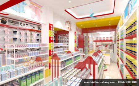 Thiết kế nội thất shop quần áo trẻ em hiện đại 150m2 Phú Thọ