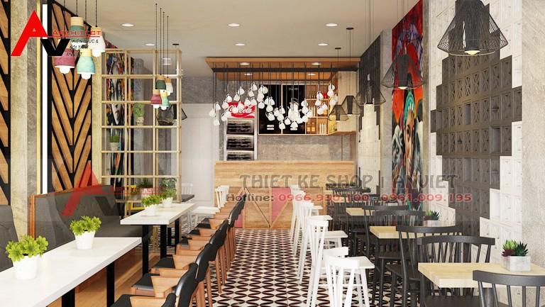 Thiết kế quán cafe 55m2 thu hút thực khách