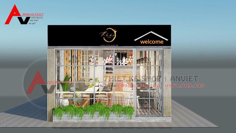 Thiết kế quán cafe 55m2 đơn giản tại hà nội - mặt tiền