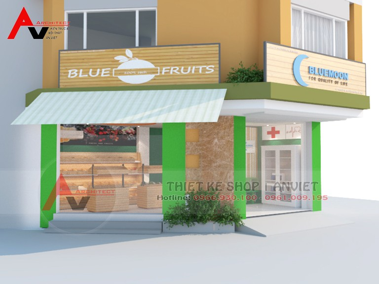 thiết kế cửa hàng trái cây hoa quả sạch