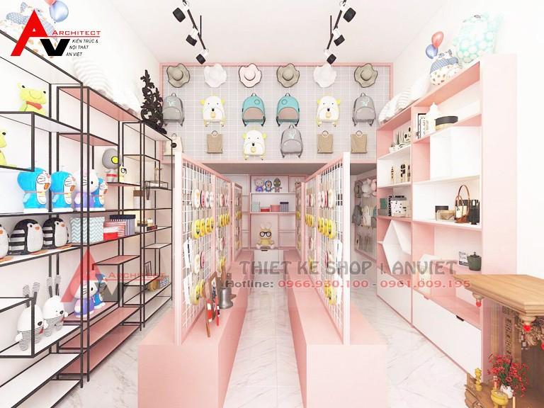 Thiết kế shop đồ trẻ em nhỏ 25m2 xinh xắn tại Bắc Ninh
