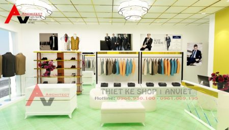 Trang trí nội thất cửa hàng thời trang nam 30m2 tại Hưng Yên