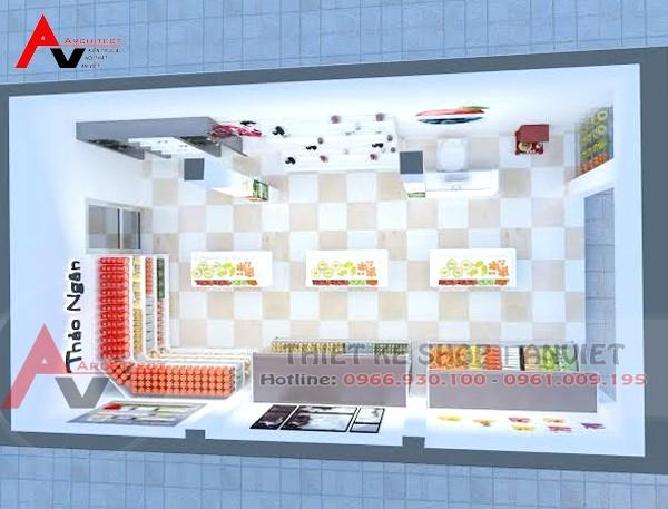 Mẫu thiết kế cửa hàng bán rau sạch 20m2 tại Vĩnh Phúc phối cảnh tổng thể