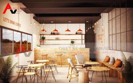 Cách trang trí nội thất quán cafe hiện đại 70m2 HÚT KHÁCH NƯỜM NƯỢP