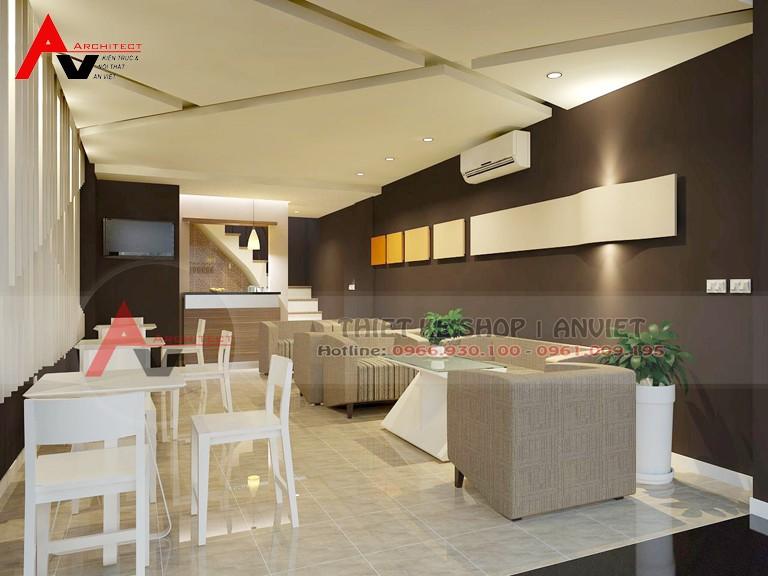 Mẫu thiết kế cửa hàng cafe đẹp tại Hà Nội diện tích 85m2