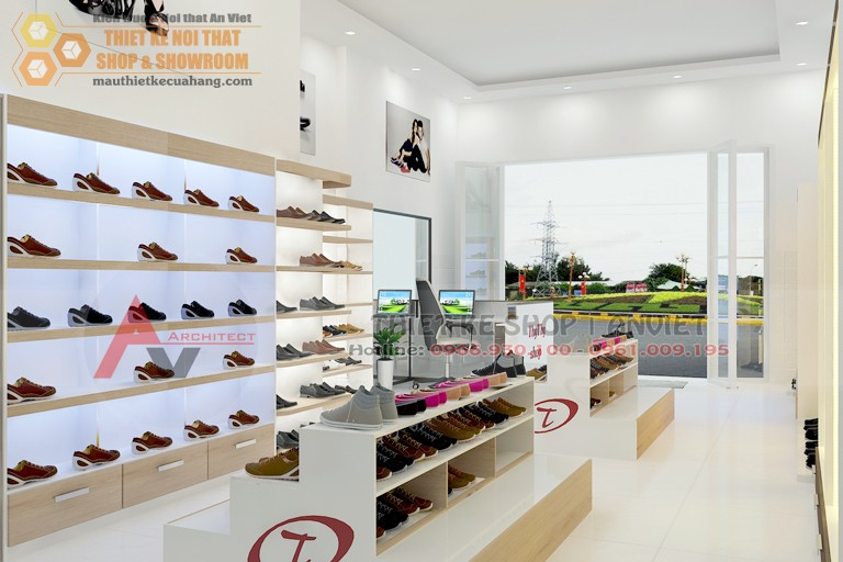 Ảnh mẫu thiết kế nội thất cửa hàng thời trang giày dép 40m2