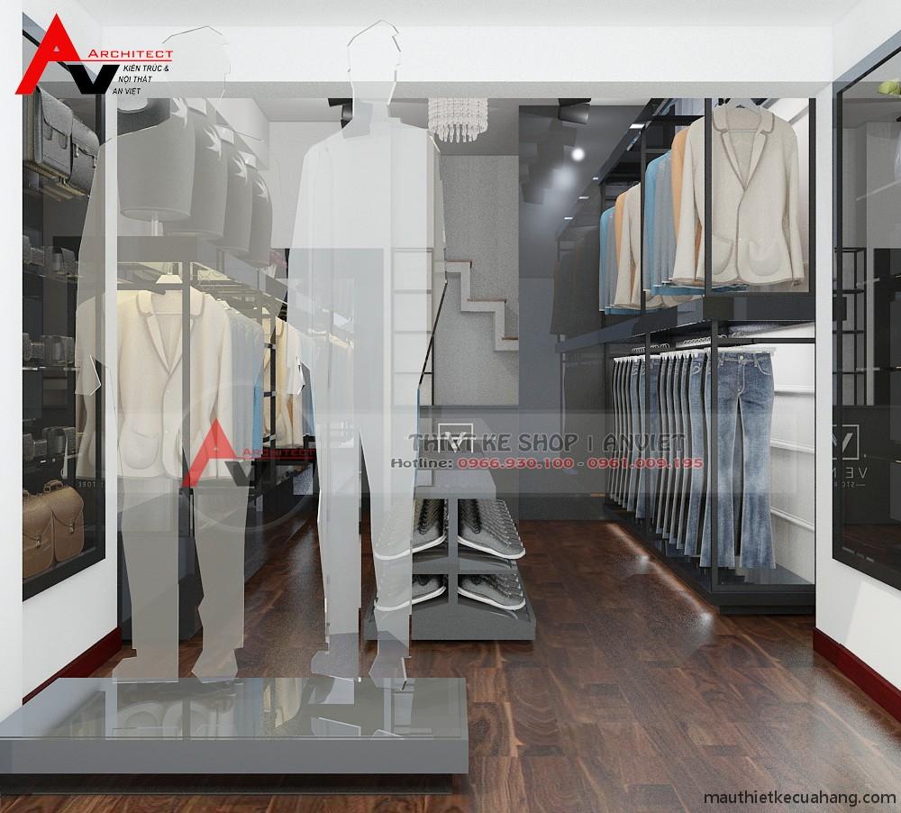 Thiết kế cửa hàng thời trang nam nhỏ 30m2 tại HN