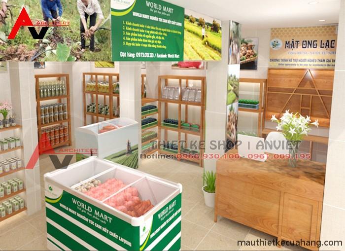 Thiết kế cửa hàng trái cây thực phẩm sạch World Mart 30m2