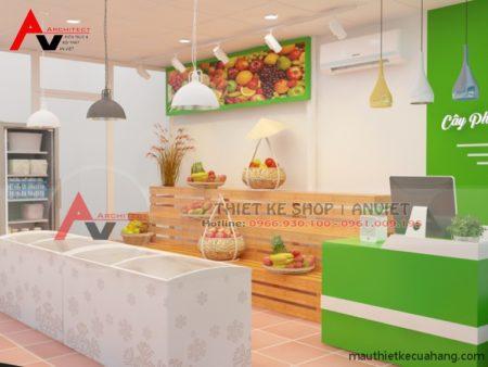 Cách trang trí cửa hàng bán hoa quả sạch 25m2 đơn giản mà hiệu quả