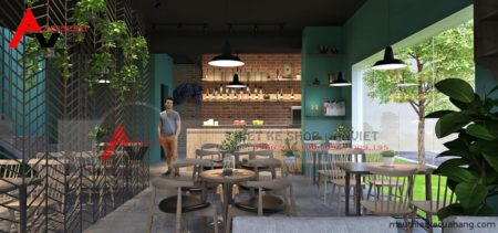 Mẫu thiết kế quán cafe xanh không gian bắt mắt