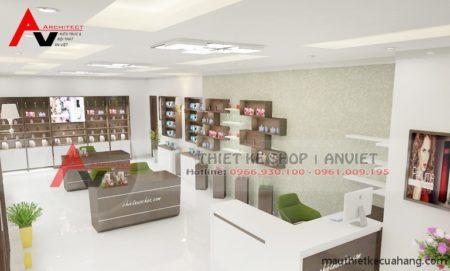 Thiết kế shop mỹ phẩm 50m2 hiện đại ĐẸP ẤN TƯỢNG