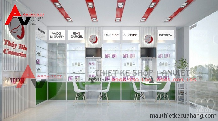 Thiết kế shop mỹ phẩm nhỏ đẹp HÚT KHÁCH 30m2 tại Hà Nội
