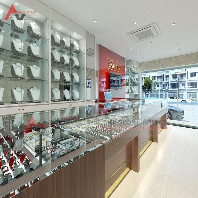 Thiết kế cửa hàng vàng bạc trang sức Bảo Tín 45m2 ở Hà Nội