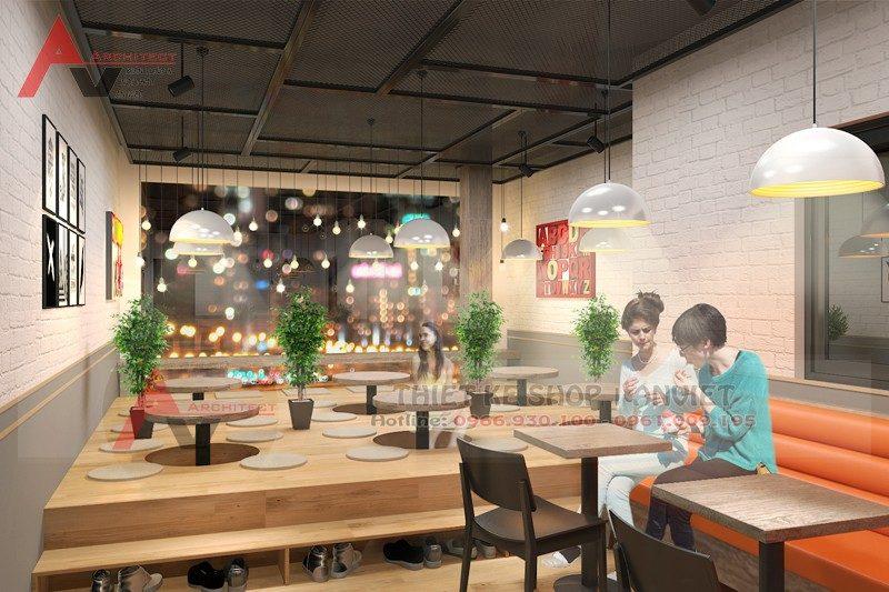 Mẫu thiết kế nội thất quán trà sữa TocoToco Thái Hà 120m2