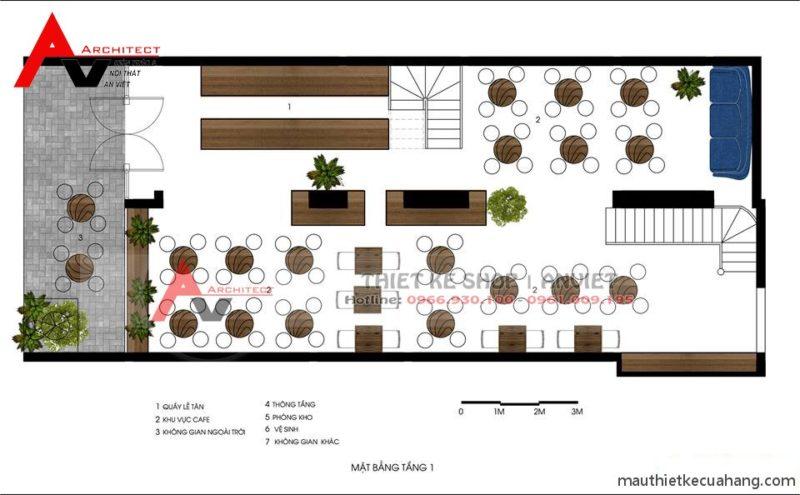 Mẫu thiết kế quán trà sữa HEY TEA 165m Xã Đàn Hà Nội - mặt bằng tầng 1
