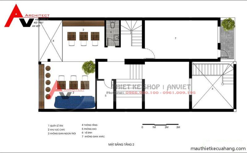 Mẫu thiết kế quán trà sữa HEY TEA 165m Xã Đàn Hà Nội - mặt bằng tầng 2