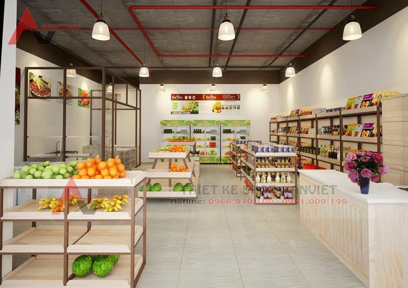 Thiết kế cửa hàng thực phẩm sạch Bác Tôm 40m tại Hà Nội