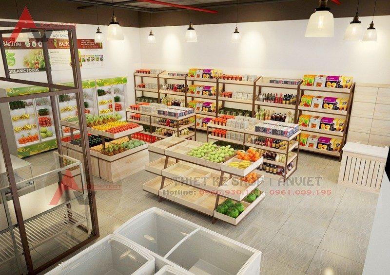 Thiết kế cửa hàng thực phẩm sạch Bắc Tôm 50m tại Hà Nội