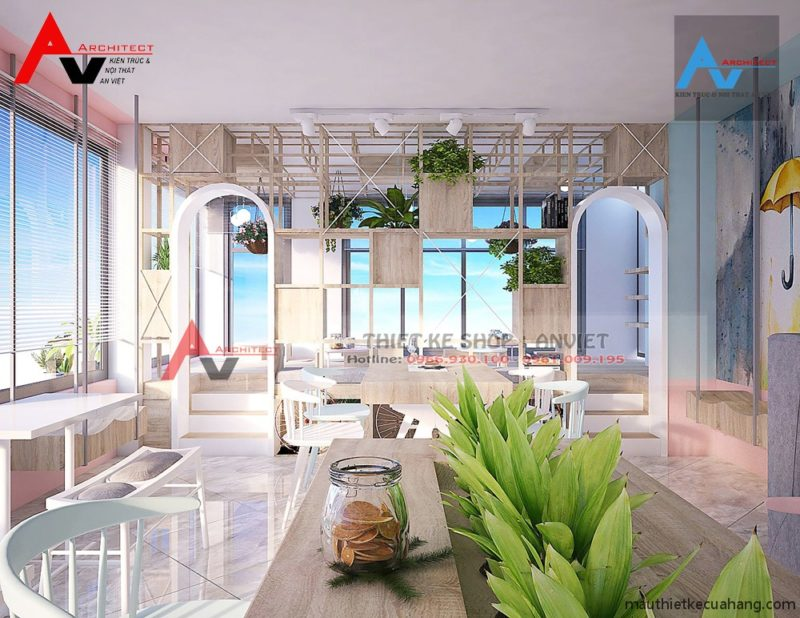 Thiết kế nội thất quán trà sữa 100m2 ĐẸP TINH TẾ, ẤN TƯỢNG ở HN