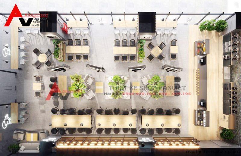 Thiết kế nội thất quán trà sữa HEY TEA sang trọng 200m2 Anh Dũng Hà Nội