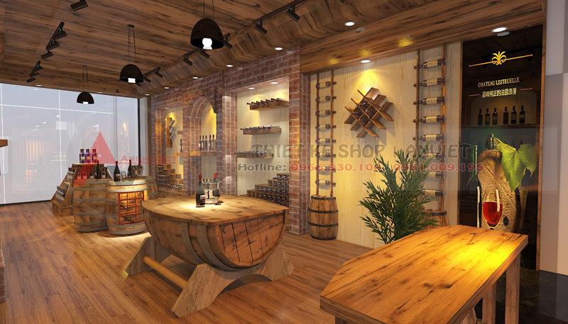 Thiết kế nội thất showroom rượu ngoại 80m2 tại Hà Nội