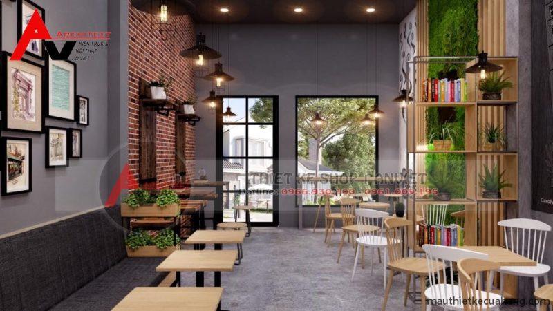 Thiết kế quán cafe mặt tiền 5m chuyên nghiệp 60m2 tại Hà Nội