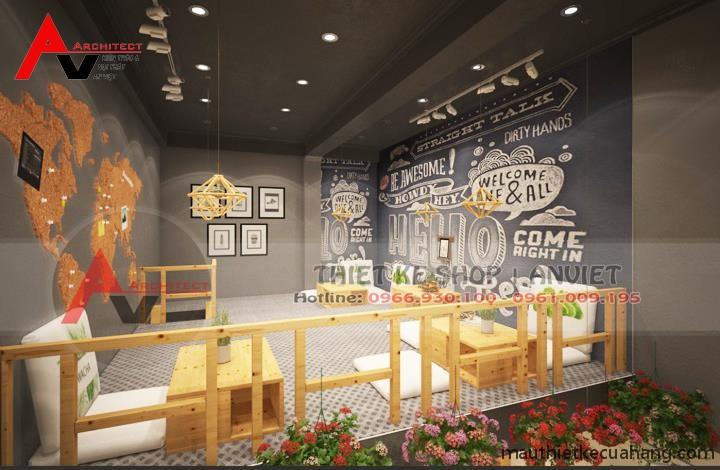 Thiết kế quán trà sữa 50m2 tại Hà Nội CHUYÊN NGHIỆP