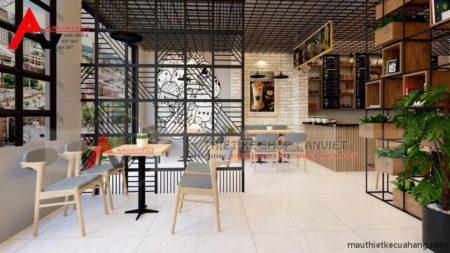 Thiết kế quán trà sữa đẹp hiện đại 80m2 tại Vĩnh Phúc