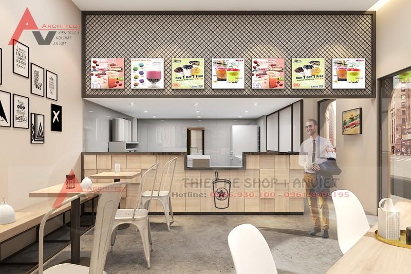 Thiết kế quán trà sữa TocoToco nhỏ đẹp 45m2 tại Tôn Đức Thắng – Hà Nội