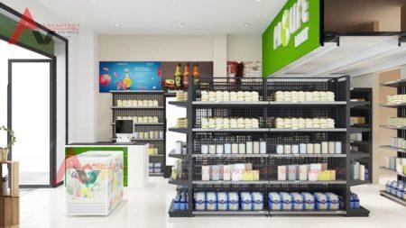 Thiết kế siêu thị mini Prolife Mart tiện nghi hiện đại 60m2 tại Hà Nội