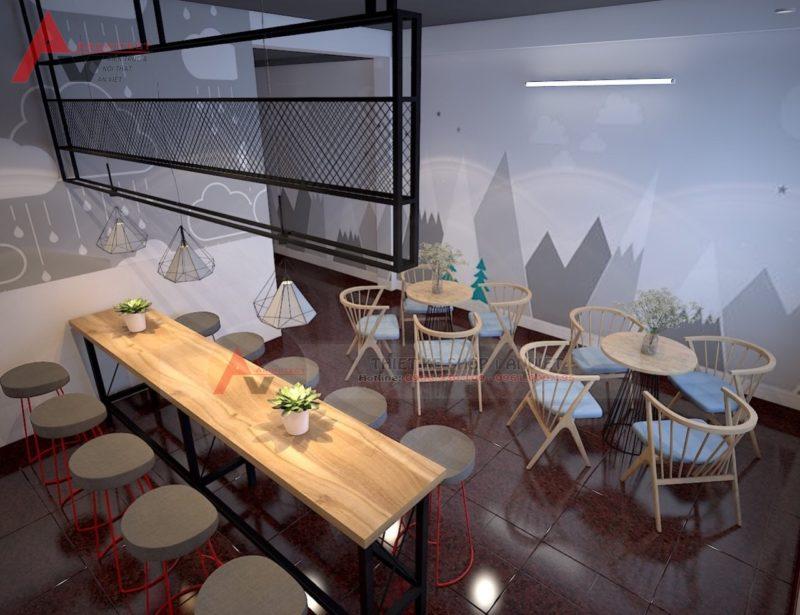 Thiết kế thi công nội thất quán cafe Smile 60m2 tại Hà Nội
