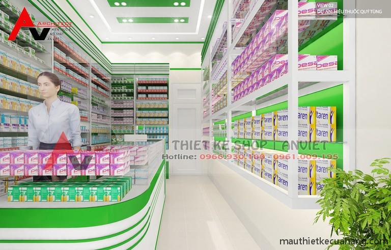 Mẫu thiết kế cửa hàng thuốc tây hiện đại 20m2 tại Hà Nội
