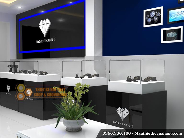Thiết kế cửa hàng kim cương trang sức Bảo Long 30m2